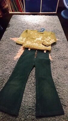 Retro Vintage Boys Girls Cord Flared Trousers