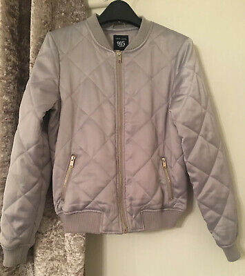 New look 915 Generation Girls Silver Grey Zip Quilted Bomber Jacket Coat 14-15yr
