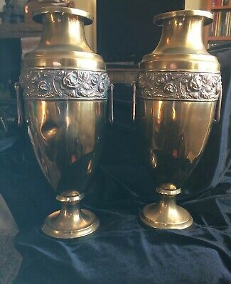 Pair Art Nouveau Arts Crafts Copper  Vases 34cm  High