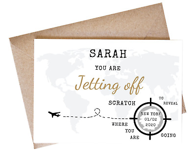 Personalised Surprise Holiday Birthday Gift Travel Scratch Card Boarding Voucher