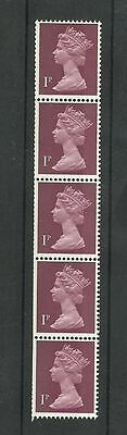Great Britain Machin 1p  Vertical coil FCP/GA 2 Band  SG x844EG MNH