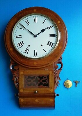 #053 ANTIQUE 1890s NEWHAVEN ROSEWOOD DROP DIAL WALL CLOCK