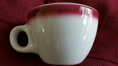 Homer Laughlin Cup Deep Red Airbrushed Rim Restaurant Ware USA Best China JF