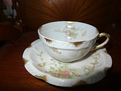 Haviland Limoges Cup and Saucer Pink Floral Gold trim 5 1/2 inches