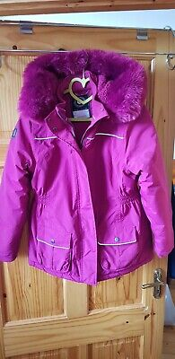 Girls Cerise Pink Winter Coat With Fur Hood. Wayerproof And Windproof Age 12 Yrs