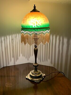 Antique Art Nouveau Brass Lamp with Amber Glass Beaded Shade