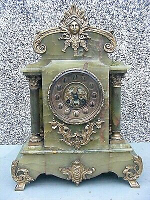 Antique Onyx Grand Mantle Clock French Marti