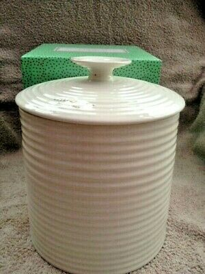 """Sophie Conran for Portmeirion,  Large Storage Jar, White, 8"""" tall, New in Box"""