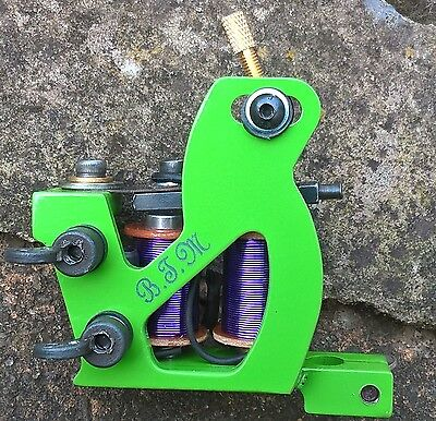 Border Tattoo Machine,Liner Custom Iron Green Frame Custom Purple 8 Layer Coils