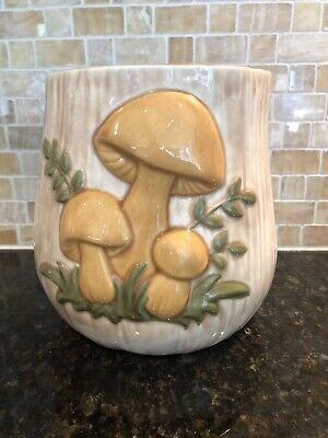 Vintage Glazed Art Pottery with Mushrooms Container Planter Storage Large MCM