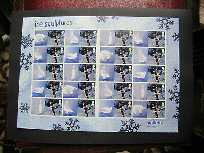 Royal Mail 2003 Mint Postage smiler stamps sheet Ice sculptures second class