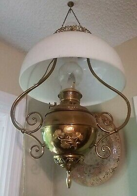 Antique Ornate Brass Oil Lamp Electrified Victorian Hanging Lamp With Shade Nice