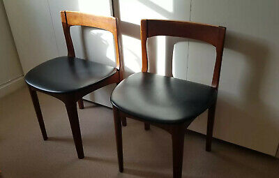Pair of Mid Century Teak Danish Style Dining Chairs with Black Seat