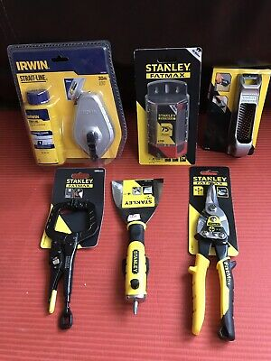 Irwin Chalk line , Stanley Blades,Board Surfer,clamp, Scraper,Aviation Snips