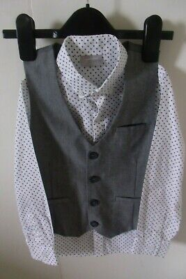 NEXT Signature Boys Grey Waistcoat and White/Grey Polka Dot Shirt Age 5 (110cm)