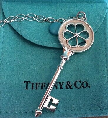 TIFFANY & Co. Sterling Silver Diamond Blossom Heart Key Charm Pendant Necklace