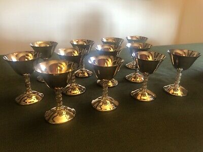 Vintage 12 Roma S.L. Cocktail Goblets - Madrid, Spain - Silverplate
