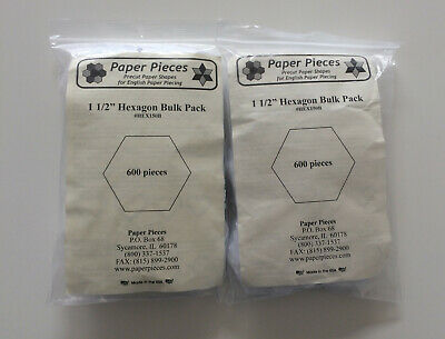 2 x packs Paper Pieces precut paper shapes, 1.5 inch hexagons, 600 pieces a pack