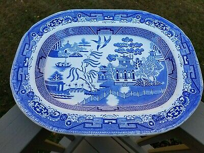 Large Antique Blue Willow Deep Platter Staffordshire Ironstone Transfer England
