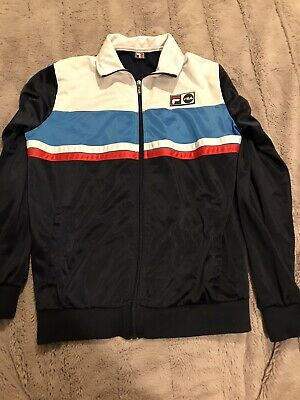 Retro Vintage Classic Mens Fila Tracksuit Top Size Small