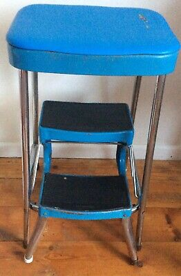 Vintage/ Retro 1960s PRESTIGE Blue Vinyl & Chrome Kitchen Extending Step Stool