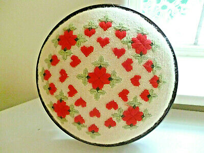 Vintage or Older HEARTS & FLOWERS Round Tapestry FOOTSTOOL : Clean & VGC