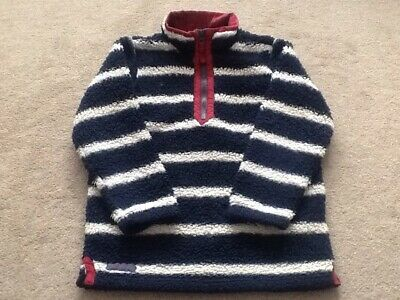 Kids JOULES Age 7 EU 122cm Funnel Neck Fleece Sweatshirt Jumper Navy White Hoops