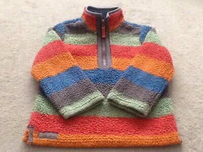 Kids JOULES Age 7 EU 122cm Fleece Jumper Sweatshirt Funnel Neck Multi Coloured