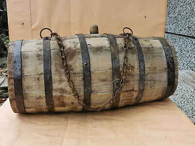 Antique Primitive Old Wooden Vessel Big Massive Keg Barrel Iron Banded Rustic 19