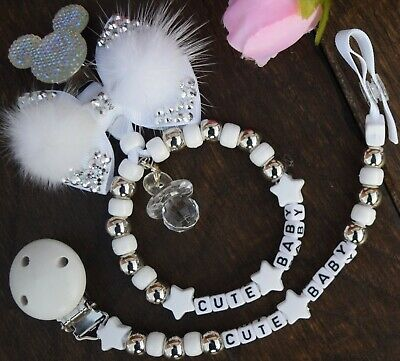 Set of two Personalised dummy clip and a Pram charm white