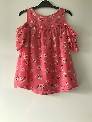Girls Age 7-8 Years Primark Floral Print Cold Shoulder Thin Floaty Top
