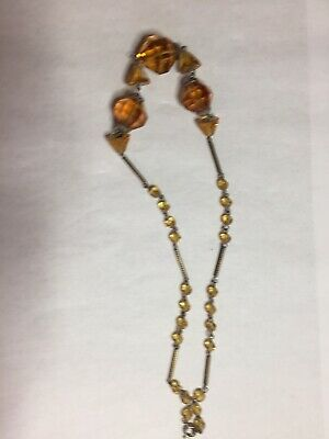 Vintage  Czech Art Deco Filigree Glass Necklace 1930's Stunning