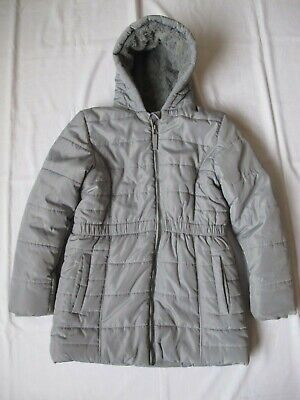 M&S Marks Girl Grey Coat 11-12 Yrs Jacket Winter Warm Fur lining  Good condition