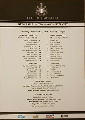 2019/20 Newcastle United V Manchester City Official Team Sheet