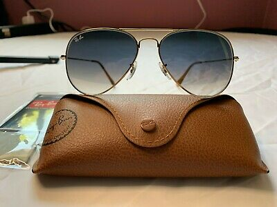 Ray-Ban Aviator Sunglasses RB3025 58mm 001/3F Gold Frame with Blue Gradient Lens