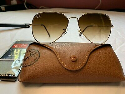 Ray-Ban Aviator Sunglasses RB3025 58mm 001/51 Gold Frame w/ Brown Gradient Lens