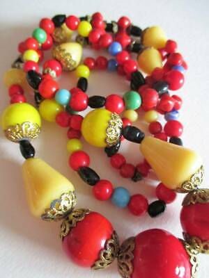 Vintage Art Deco Glass bead necklace Czech Bohemian 1930s Colourful! Long