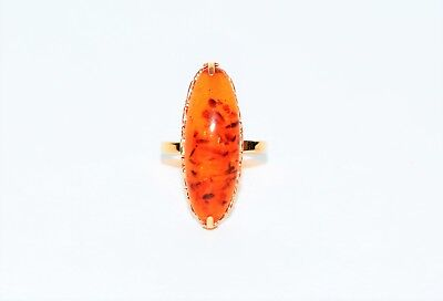 Very Detailed Art Deco Large Natural Amber 14kt Rose Gold Ring