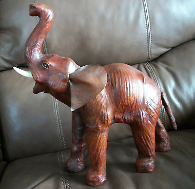Collectible Brown Leather Elephant Trunk Up *Nice Detail*