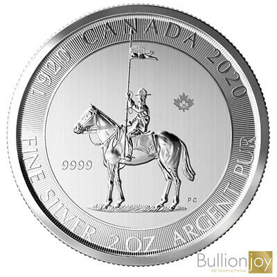 2020 2oz Canadian Mounted Police 100th Anniversary Silver Bullion Coin unc: