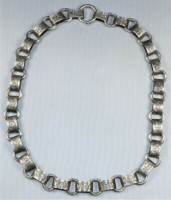 """Antique Victorian Sterling Silver Engraved Book Chain Necklace 17"""" 24.3 grams"""