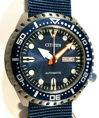 Citizen Promaster Marine Sport Automatic 100M Watch - BLUE 5-RING NATO - NEW
