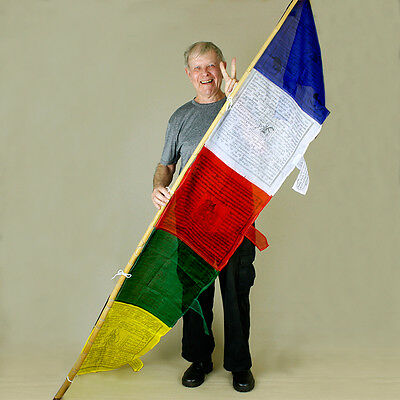 Tibetan Pole Prayer Flags Large Eastern Religious Buddhist 2.2m Made in Nepal 7f