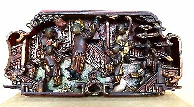 Chinese Lacquer Relief Panel Hand Carved Wood Fragment Unusual C.1890's - 1900