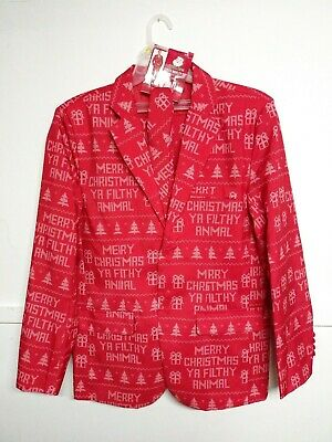 "Ugly Christmas Suit ""Filthy Animal"" 3 Piece Coat Pants Tie Mens Large New W/Tag"