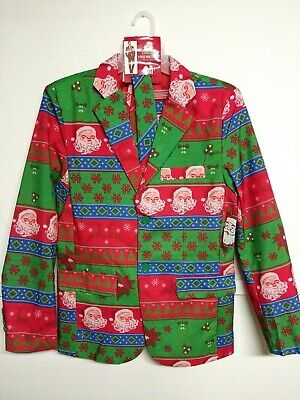 "Ugly Christmas Suit ""Ugly Holiday Stripes"" 3 Piece Coat Pants Tie Mens Small New"
