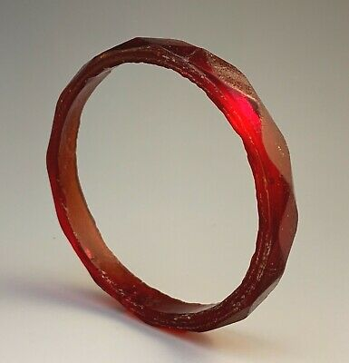Ancient Roman Byzantine Faceted Red Glass Bracelet, 4Th-5Th Century Ad; Gorgeous