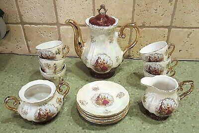 16pc Lusterware Victorian Courting Couple TEAPOT CREAMER SUGAR TEACUP & SAUCERS