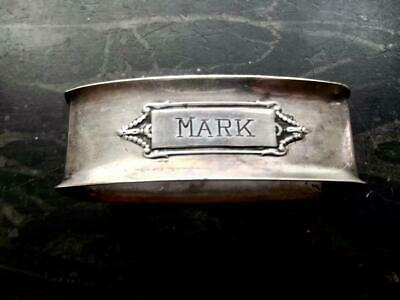 "Vintage Personalised Silverplate Napkins Ring Repousse Medallion Etched ""MARK"""