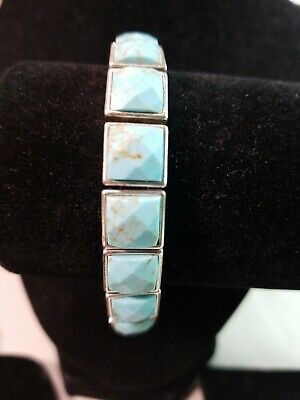 Fossil Faceted Tile And Leather Silver Tone Bracelet. #8241